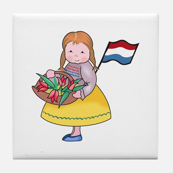 DUTCH GIRL WITH TULIPS AND FLAG Tile Coaster