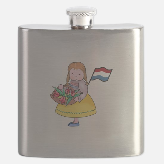 DUTCH GIRL WITH TULIPS AND FLAG Flask