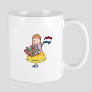 DUTCH GIRL WITH TULIPS AND FLAG Mugs