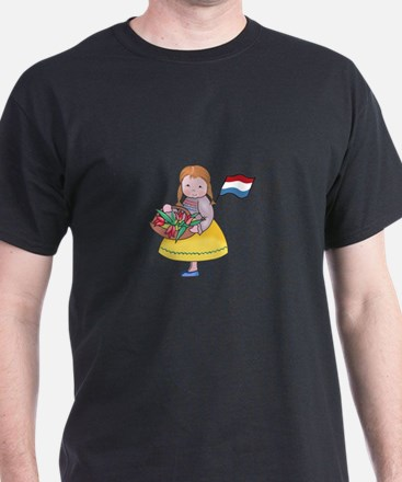 DUTCH GIRL WITH TULIPS AND FLAG T-Shirt