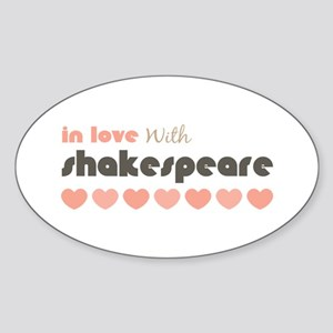 In Love With Shakespeare Hearts Pink Brown Sticker