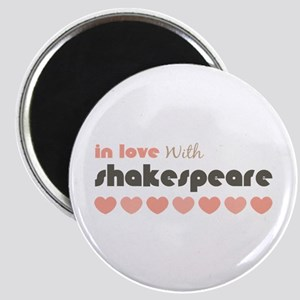 In Love With Shakespeare Hearts Pink Brown Magnet
