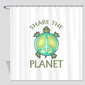 SHARE THE PLANET Shower Curtain