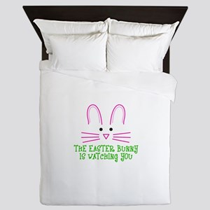 THE EASTER BUNNY IS WATCHING YOU Queen Duvet