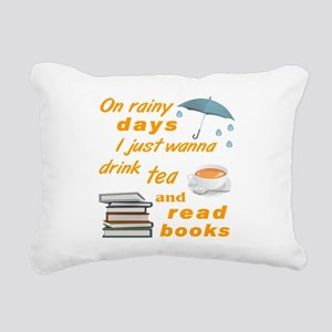 Rainy Days Tea Books Rectangular Canvas Pillow
