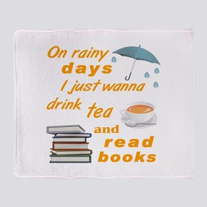 Rainy Days Tea Books Throw Blanket