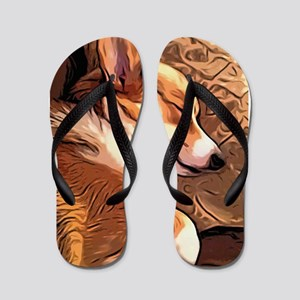 Sleepy Tricolor Corgi Flip Flops