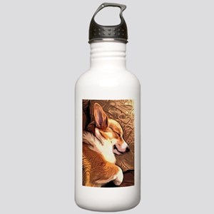 Sleepy Tricolor Corgi Water Bottle