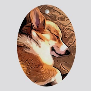 Sleepy Tricolor Corgi Ornament (Oval)