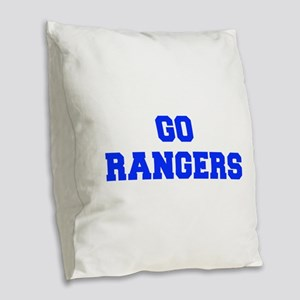 Rangers-Fre blue Burlap Throw Pillow