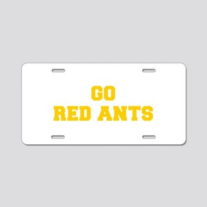 Red Ants-Fre yellow gold Aluminum License Plate
