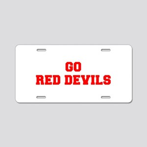 RED DEVILS-Fre red Aluminum License Plate