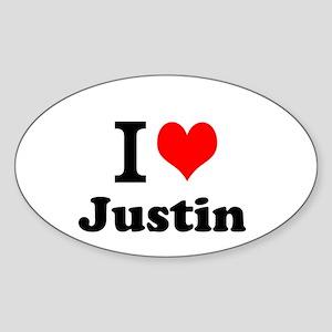 I Love Justin Sticker