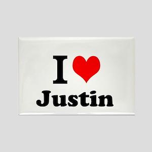 I Love Justin Magnets