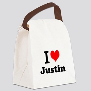I Love Justin Canvas Lunch Bag