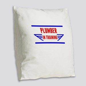 Plumber In Training Burlap Throw Pillow
