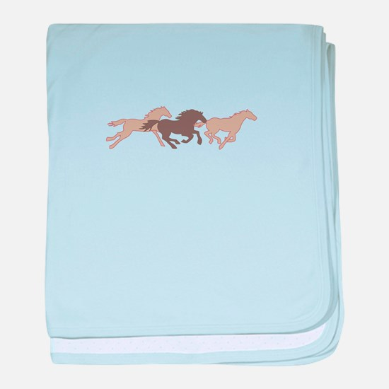 RUNNING MUSTANGS baby blanket