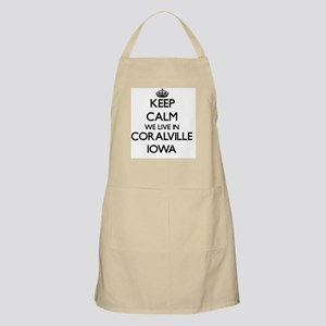 Keep calm we live in Coralville Iowa Apron