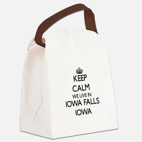 Keep calm we live in Iowa Falls I Canvas Lunch Bag