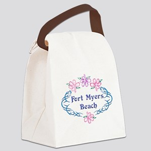 Fort Myers Beach: Flower Oval Canvas Lunch Bag