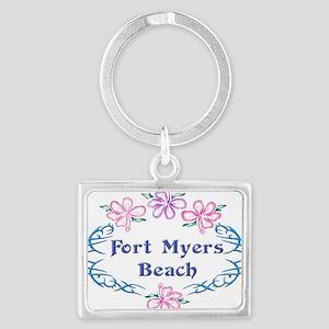 Fort Myers Beach: Flower Oval Landscape Keychain