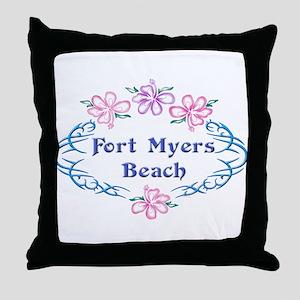 Fort Myers Beach: Flower Oval Throw Pillow