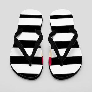 878622990aee Black And White Striped Flip Flops - CafePress