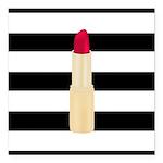Red Lipstick Strioes Square Car Magnet 3