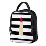 Red Lipstick Strioes Neoprene Lunch Bag