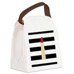 Red Lipstick Strioes Canvas Lunch Bag