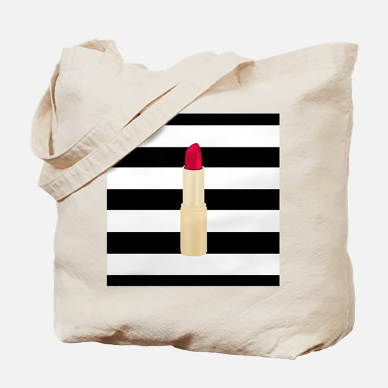 Red Lipstick Strioes Tote Bag