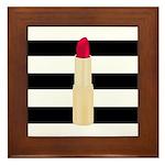 Red Lipstick Strioes Framed Tile