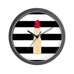 Red Lipstick Strioes Wall Clock