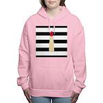 Red Lipstick Strioes Women's Hooded Sweatshirt