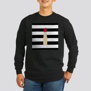 Red Lipstick Strioes Long Sleeve T-Shirt