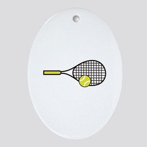 TENNIS RACQUET & BALL Ornament (Oval)