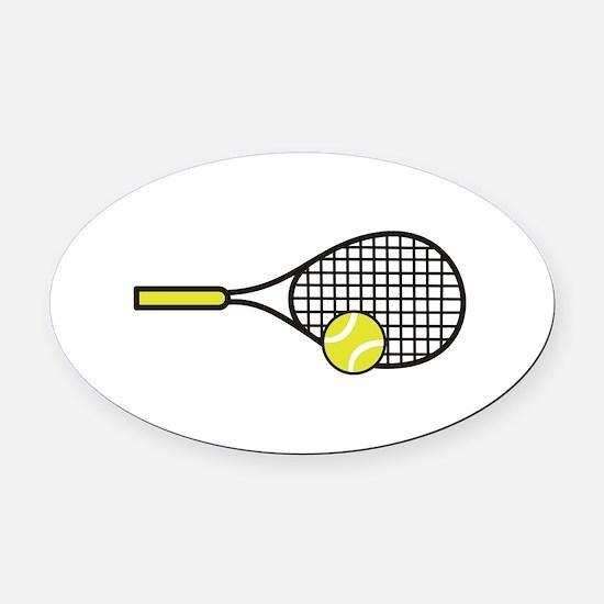 TENNIS RACQUET & BALL Oval Car Magnet