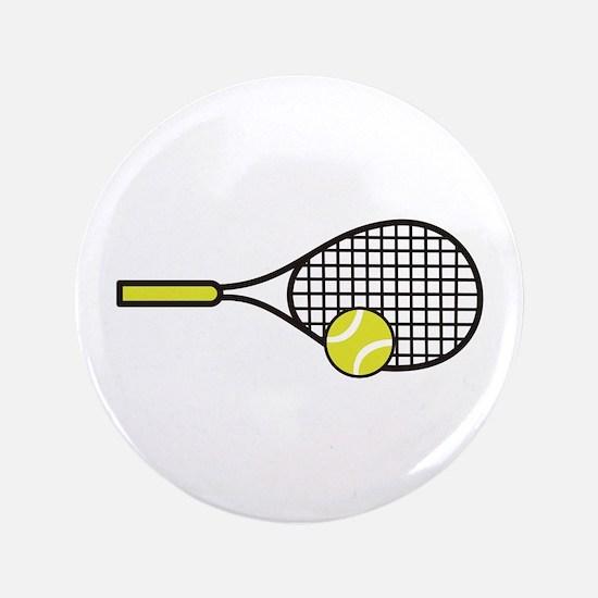 """TENNIS RACQUET & BALL 3.5"""" Button"""