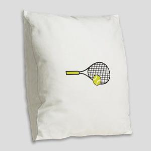 TENNIS RACQUET & BALL Burlap Throw Pillow