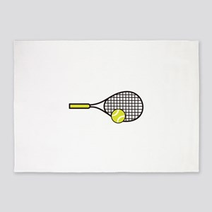 TENNIS RACQUET & BALL 5'x7'Area Rug
