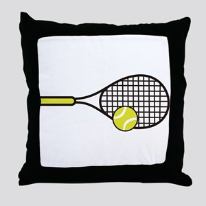 TENNIS RACQUET & BALL Throw Pillow