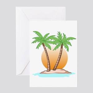 PALM TREES AND SUN Greeting Cards