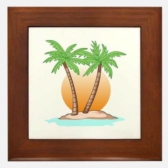 PALM TREES AND SUN Framed Tile