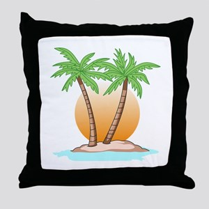 PALM TREES AND SUN Throw Pillow