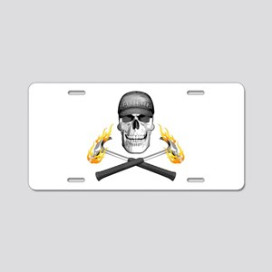 Skull and Flaming Hammers Aluminum License Plate