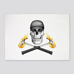 Skull and Flaming Hammers 5'x7'Area Rug