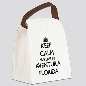 Keep calm we live in Aventura Flo Canvas Lunch Bag