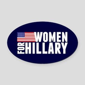 Women Hillary Blue Oval Car Magnet