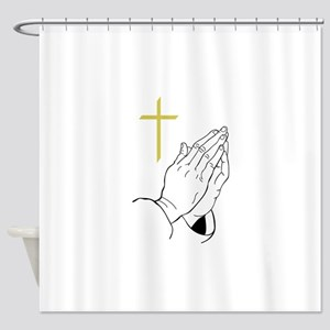 PRAYING HANDS AND CROSS Shower Curtain