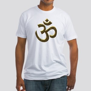 Golden Ohm & Buddha Quote Fitted T-Shirt